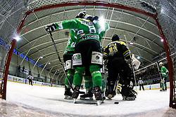 Players of EHC Bregenzwald celebrate after scoring a goal during 5th game of final INL league ice hockey match between HK Playboy Slavija and EHC Bregenwald at Dvorana Zalog, on April 3, 2013, in Ljubljana, Slovenia. (Photo by Matic Klansek Velej / Sportida)