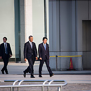 HIROSHIMA, JAPAN - MAY 27 : U.S. President Barack Obama (center left) and Prime Minister Shinzo Abe (center right) walk towards the cenotaph to pay respect to the families of victims of atomic bombing in Hiroshima Peace Memorial Park in Hiroshima, Japan on May 27, 2016. US President Barack Obama is the first American president to visit Hiroshima after United States of America dropped Atomic bomb in Hiroshima on August 6, 1945.<br /> <br /> Photo: Richard Atrero de Guzman<br /> <br /> <br /> <br />  <br /> <br /> <br /> <br /> <br /> <br /> Photo: Richard Atrero de Guzman