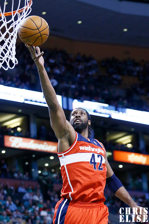 07 April 2013: Washington Wizards center Nene (42) goes for the layup during the Boston Celtics 107-96 victory over the Washington Wizards at the TD Garden, Boston, Massachusetts, USA.