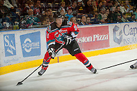 KELOWNA, CANADA - OCTOBER 10:  Henrik Nyberg #21 of the Kelowna Rockets skates on the ice with the puck as the Spokane Chiefs visit the Kelowna Rockets on October 10, 2012 at Prospera Place in Kelowna, British Columbia, Canada (Photo by Marissa Baecker/Shoot the Breeze) *** Local Caption ***
