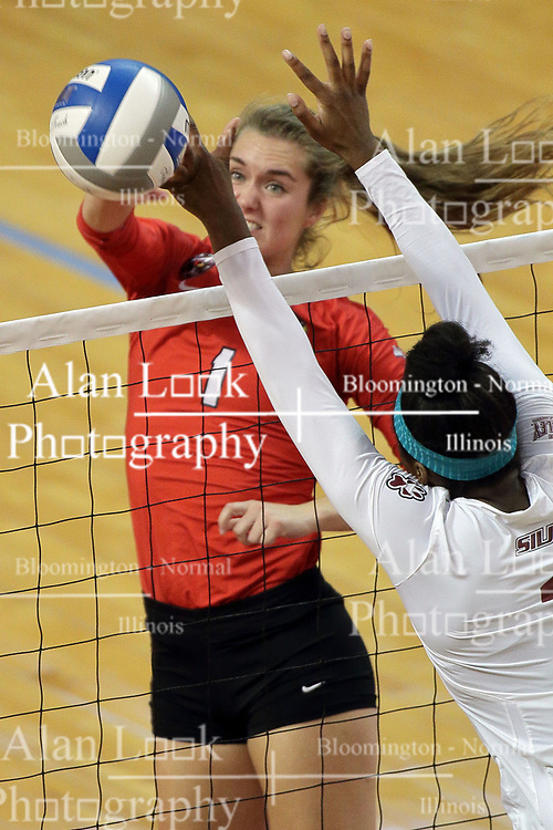 23 September 2017:  Allie Line during a college women's volleyball match between the Salukis of Southern Illinois and the Illinois State Redbirds at Redbird Arena in Normal IL (Photo by Alan Look)