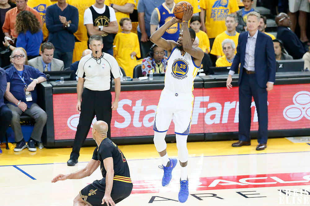 04 June 2017: Golden State Warriors forward Kevin Durant (35) goes for the jump shot over Cleveland Cavaliers forward Richard Jefferson (24) during the Golden State Warriors 132-113 victory over the Cleveland Cavaliers, in game 2 of the 2017 NBA Finals, at the Oracle Arena, Oakland, California, USA.