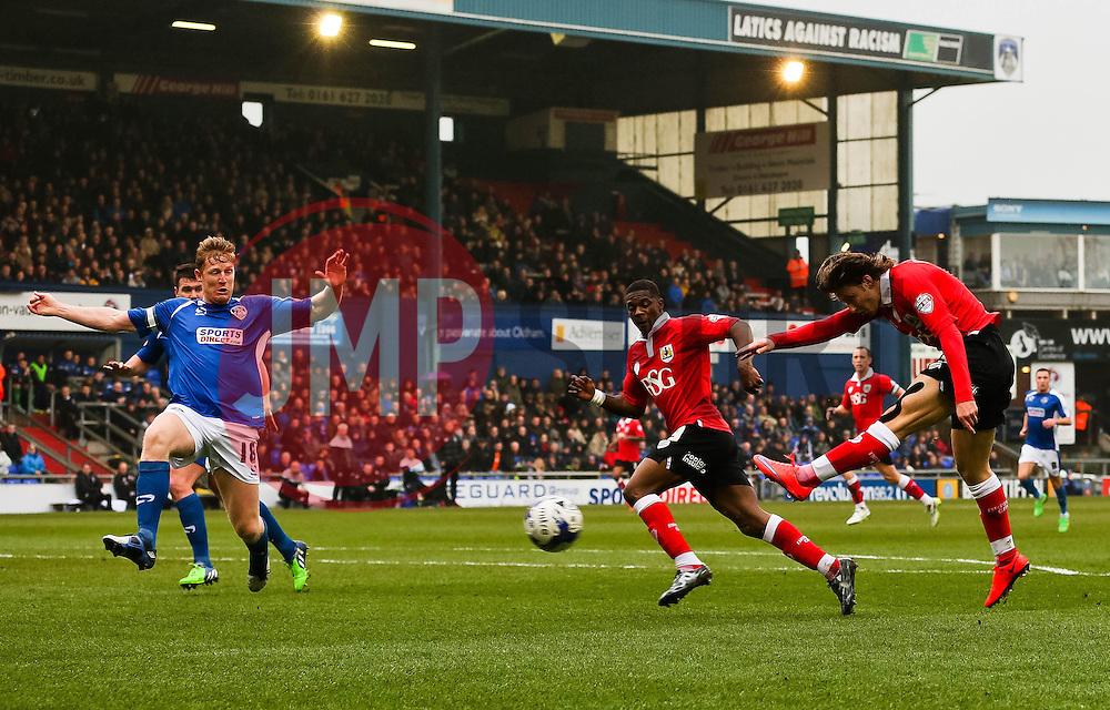 Bristol City's Luke Freeman fires a shot towards goal   - Photo mandatory by-line: Matt McNulty/JMP - Mobile: 07966 386802 - 03/04/2015 - SPORT - Football - Oldham - Boundary Park - Oldham Athletic v Bristol City - Sky Bet League One