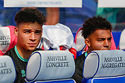 Queens Park Rangers forward Lewis Walker (34) and Queens Park Rangers midfielder Chay Tilt (35) on the bench during the EFL Sky Bet Championship match between Queens Park Rangers and Blackburn Rovers at the Loftus Road Stadium, London, England on 19 April 2019.