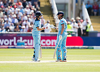 Cricket - 2019 ICC Cricket World Cup - Group Stage: England vs. NZ<br /> <br /> Jonny Bairstow of England celebrates after hitting for 4 from Mitchell Satner , at the Riverside, Chester-le-Street, Durham.<br /> <br /> COLORSPORT/BRUCE WHITE