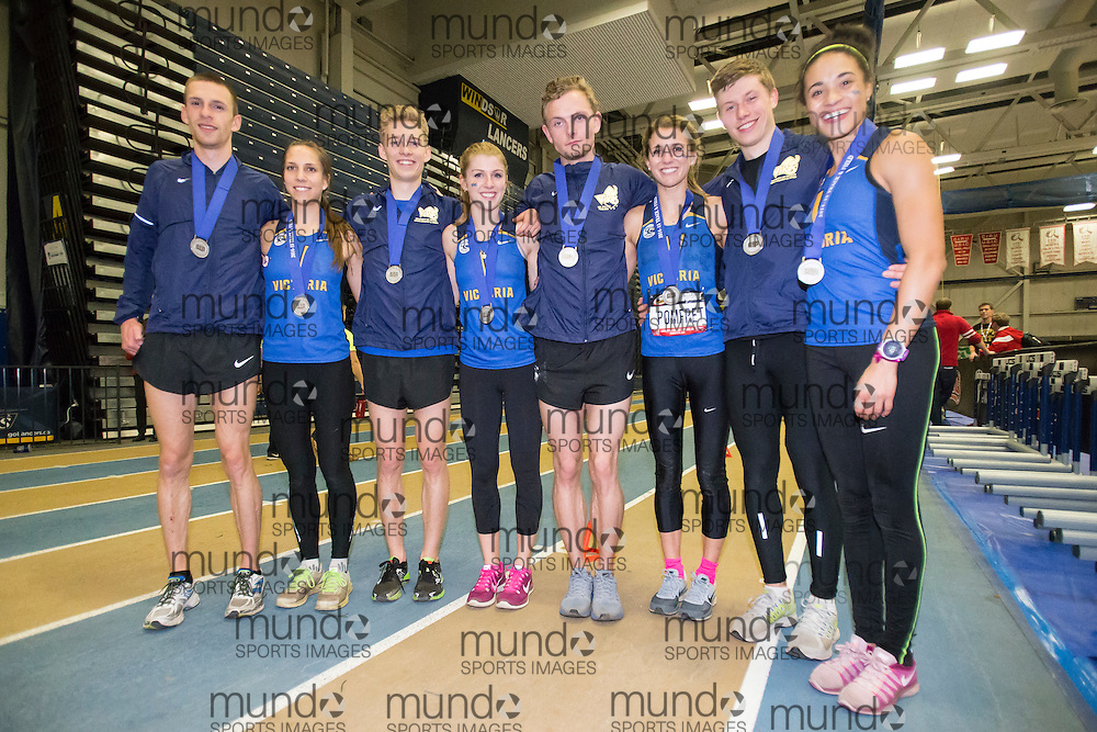 Windsor, Ontario ---2015-03-13--- The CIS Silver medalist Victoria Vikes 4X800 relay teams pose for a photo at the 2015 CIS Track and Field Championships in Windsor, Ontario, March 13, 2015.<br /> GEOFF ROBINS/ Mundo Sport Images