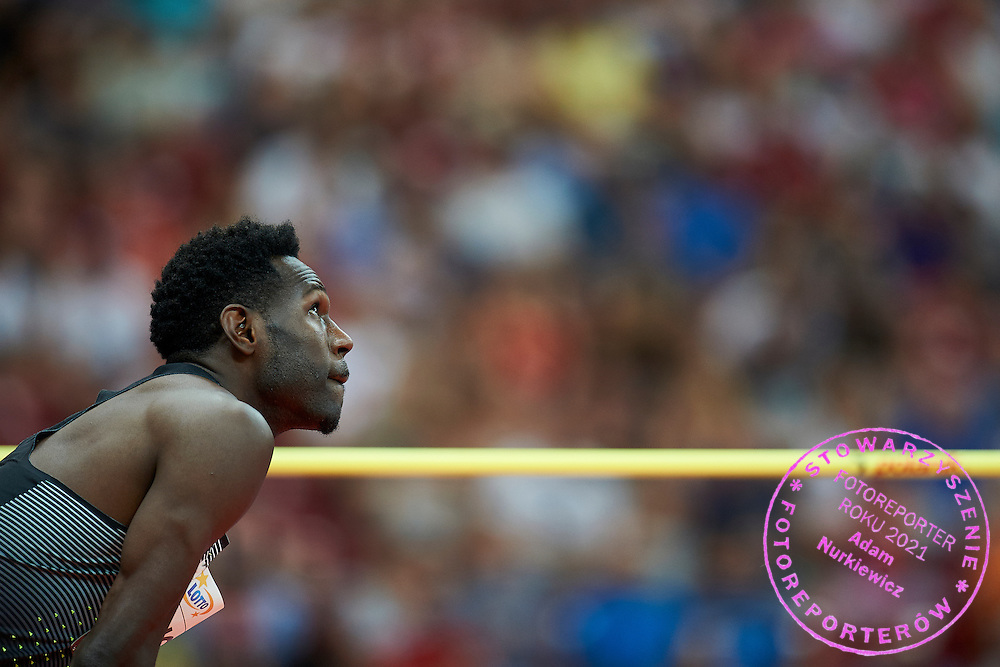 Warsaw, Poland - 2016 August 28: Donald Thomas from Bahamas competes in men's high jump competition during athletics meeting Kamila Skolimowska Memorial 2016 at PGE National Stadium  August 28, 2016 w Warsaw, Poland.<br /> <br /> Adam Nurkiewicz declares that he has no rights to the image of people at the photographs of his authorship.<br /> <br /> Picture also available in RAW (NEF) or TIFF format on special request.<br /> <br /> Any editorial, commercial or promotional use requires written permission from the author of image.<br /> <br /> Mandatory credit:<br /> Photo by &copy; Adam Nurkiewicz