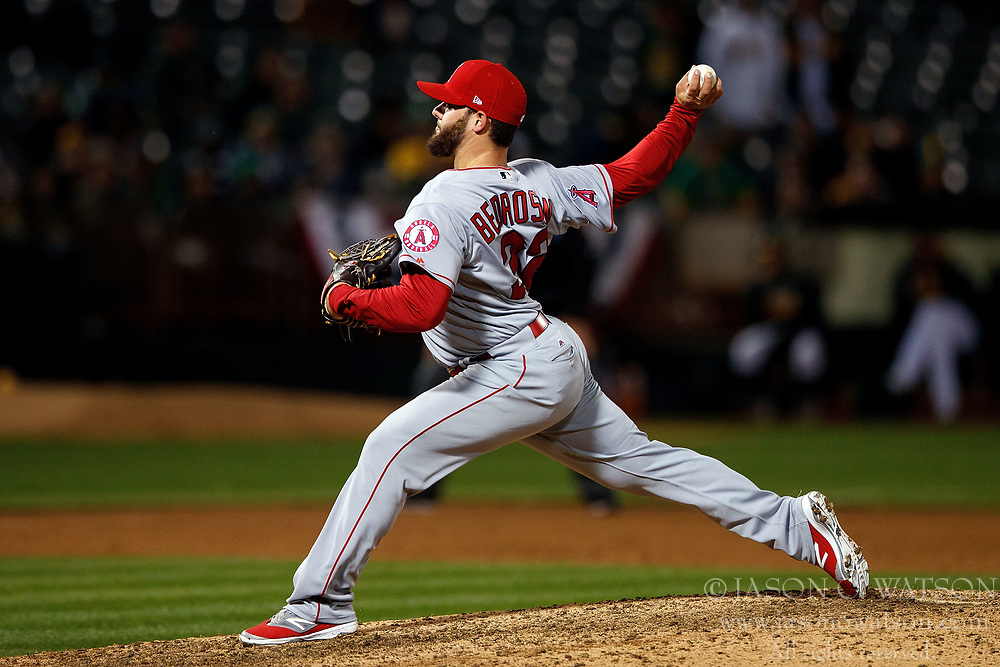 OAKLAND, CA - APRIL 04:  Cam Bedrosian #32 of the Los Angeles Angels of Anaheim pitches against the Oakland Athletics during the ninth inning at the Oakland Coliseum on April 4, 2017 in Oakland, California. The Los Angeles Angels of Anaheim defeated the Oakland Athletics 7-6. (Photo by Jason O. Watson/Getty Images) *** Local Caption *** Cam Bedrosian