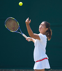 LONDON, ENGLAND - Wednesday, July 1, 2009: Noppawan Lertcheewakarn (THA) during the Girls' Singles 3rd Round match on day nine of the Wimbledon Lawn Tennis Championships at the All England Lawn Tennis and Croquet Club. (Pic by David Rawcliffe/Propaganda)