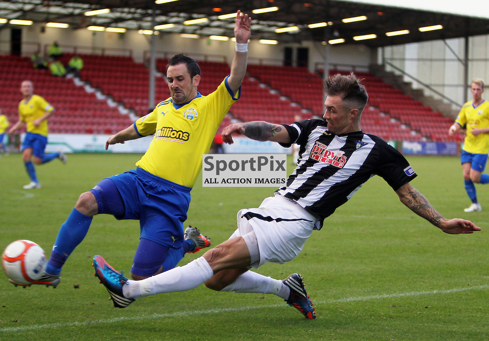 Dunfermline Athletic v Morton Irn Bru First Division East End Park 20 October 2012..Jordan McMillan tries to cross past former par David Graham..(c) Craig Brown | StockPix.eu