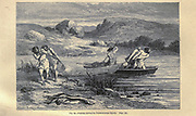 Fishing during the Polished-Stone epoch according to the French illustrator Emile Bayard (1837-1891), illustration Artwork published in Primitive Man by Louis Figuier (1819-1894), Published in London by Chapman and Hall 193 Piccadilly in 1870