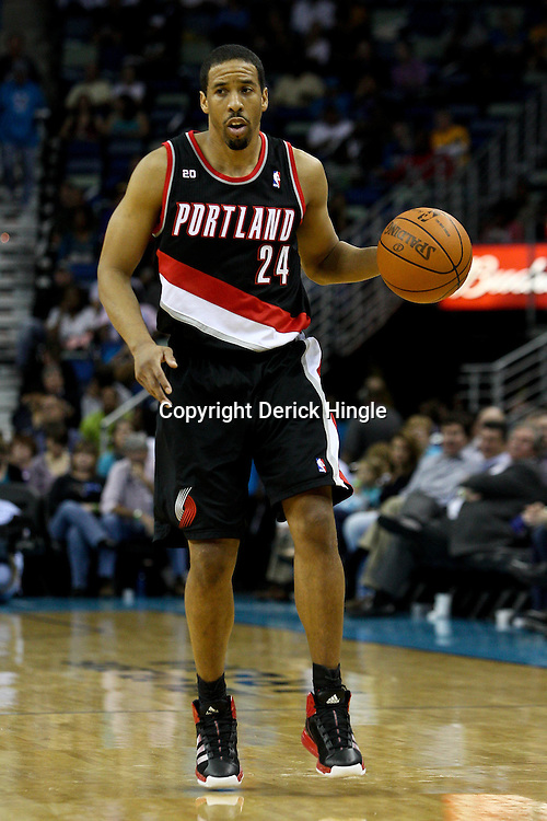 March 30, 2011; New Orleans, LA, USA; Portland Trail Blazers point guard Andre Miller (24) against the New Orleans Hornets during the third quarter at the New Orleans Arena. The Hornets defeated the Trail Blazers 95-91.   Mandatory Credit: Derick E. Hingle