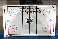 KELOWNA, CANADA - OCTOBER 13: Coaches rink board sits on the bench on October 13, 2018 at Prospera Place in Kelowna, British Columbia, Canada.  (Photo by Marissa Baecker/Shoot the Breeze)  *** Local Caption ***