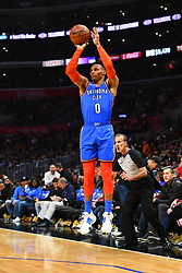March 9, 2019 - Los Angeles, CA, U.S. - LOS ANGELES, CA - MARCH 08: Oklahoma City Thunder Guard Russell Westbrook (0) shoots a three pointer during a NBA game between the Oklahoma City Thunder and the Los Angeles Clippers on March 8, 2019 at STAPLES Center in Los Angeles, CA. (Photo by Brian Rothmuller/Icon Sportswire) (Credit Image: © Brian Rothmuller/Icon SMI via ZUMA Press)