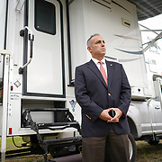 CORAL SPRINGS, FLORIDA -- JANUARY  28, 2019: Andrew Pollack, whose 18 year old daughter Meadow Pollack was one of the victims of the masacre in Marjorie Stoneman Douglas High School in Parkland, Florida in February of 2018, in front of an RV he's been calling home recently. The vehicle is currently parked on the grounds of a Coral Springs temple. <br /> (Angel Valentin / For The Times)