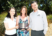 Wellington representatives (L_R) Renee Clearwater, Helen Mallon and Jamie Milne pose for a photo with the plaque. Congratulatory meeting to celebrate North Wellington Junior AFCs QCM accreditation. Ground Up Café, Pauatahanui, Wellington, New Zealand on Tuesday 29 January 2013. Photo: Justin Arthur / photosport.co.nz