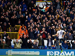LONDON, ENGLAND - Sunday, March 5, 2017: Tottenham Hotspur's Harry Kane celebrates scoring the second goal against Everton during the FA Premier League match at White Hart Lane. (Pic by David Rawcliffe/Propaganda)