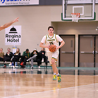 1st year guard Brayden Kuski (15) of the Regina Cougars during the Men's Basketball home game on January 5 at Centre for Kinesiology, Health and Sport. Credit: Arthur Ward/Arthur Images