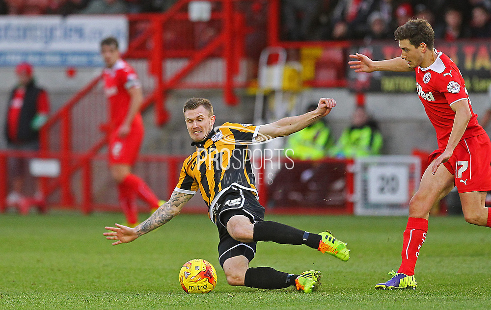 Port Vale's Michael O'Connor wins the ball during the Sky Bet League 1 match between Crawley Town and Port Vale at Broadfield Stadium, Crawley, England on 20 December 2014. Photo by Phil Duncan.