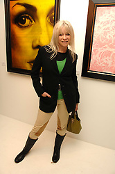JO WOOD at an exhibition of artist Paul Karslake's work entitled Ideas & Idols, held at Scream, 34 Bruton Street, London W1 on 21st February 2008.<br />
