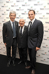 Left to right, DAMON HILL, SIR STIRLING MOSS and ANTOINE PIN head of Tag Heuer UK at the TAG Heuer British Formula 1 Party at the Mall Galleries, London on 15th September 2008.