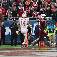 South Carolina Gamecocks tight end Jerell Adams (89) scores a touchdown during the NCAA Capital One Bowl football game between the South Carolina Gamecocks who represent the SEC and the Wisconsin Badgers who represent the Big 10 Conference, at the Florida Citrus Bowl on Wednesday, January 1, 2014 in Orlando, Florida. (AP Photo/Alex Menendez)