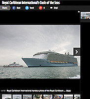 Royal Caribbean International's Oasis of the Seas Southampton visit cuttings.<br /> Telegraph Travel 161014 website.