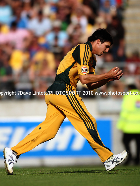 Australia's Mitchell Johnson catches Nathan McCullum.<br /> Fifth Chappell-Hadlee Trophy one-day international cricket match - New Zealand v Australia at Westpac Stadium, Wellington. Saturday, 13 March 2010. Photo: Dave Lintott/PHOTOSPORT