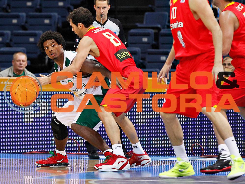 DESCRIZIONE : Panevezys Lithuania Lituania Eurobasket Men 2011 Preliminary Round Spagna Portogallo Spain Portugal<br /> GIOCATORE : Carlos Andrade <br /> SQUADRA : Portogallo Portugal<br /> EVENTO : Eurobasket Men 2011<br /> GARA : Spagna Portogallo Spain Portugal <br /> DATA : 01/09/2011 <br /> CATEGORIA : palleggio<br /> SPORT : Pallacanestro <br /> AUTORE : Agenzia Ciamillo-Castoria/L.Kulbis<br /> Galleria : Eurobasket Men 2011 <br /> Fotonotizia : Panevezys Lithuania Lituania Eurobasket Men 2011 Preliminary Round Spagna Portogallo Spain Portugal<br /> Predefinita :