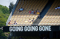 4 May 2011: Fans sit in the outfield above a GOING GOING GONE saying on the electronic score board during a Major League Baseball game at Dodger Stadium in Los Angeles, California.  **Editorial Use Only**