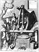 Undershot water wheel powering a fulling mill. Tappets, C, on shaft, B, raise and lower mallets, D,D, which pound the woollen cloth. From Georg Andreas Bockler 'Theatrum Machinarum Novum', Nuremberg, 1673. Copperplate engraving.