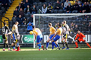 Notts County forward Craig Mackail-Smith (28) curls his shot just inside the post 1-0 during the EFL Sky Bet League 2 match between Notts County and Mansfield Town at Meadow Lane, Nottingham, England on 16 February 2019.