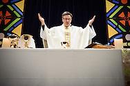 The Rev. Christopher Esget, LCMS sixth vice-president and pastor of Immanuel Evangelical-Lutheran Church, Alexandria, Va., prays during worship on Friday, Jan. 27, 2017, in Arlington, Va. LCMS Communications/Erik M. Lunsford