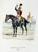 Royal mounted officer.  From 'Histoire de la maison militaire du Roi de 1814 a 1830' by Eugene Titeux, Paris, 1890.