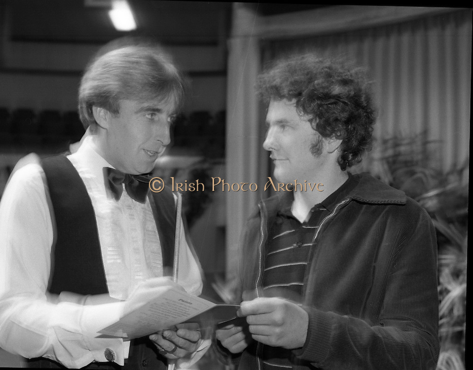Benson and Hedges Masters Snooker.  (N62)..1981..19.02.1981..02.19.1981..19th February 1981..The quarter final of the Benson and Hedges Masters Snooker competion was held tonight at Goffs , Kill, Co Kildare. The match would be contested between Terry Griffiths and Kirk Stevens...Before his match Terry Griffiths is pictured taking the time to sign an autograph for John Fitzgerald, Abbey Street, Arklow, Co Wicklow.