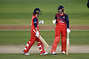 Sophie Ecclestone of Lancashire Thunder smiling after the boundary was hit by Kathryn Cross during the Women's Cricket Super League match between Southern Vipers and Lancashire Thunder at the 1st Central County Ground, Hove, United Kingdom on 15 August 2019.