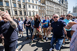 "© Licensed to London News Pictures . 06/05/2018. London, UK. Far right protesters confront anti fascists on Whitehall . Supporters of alt-right and anti-Islam groups, including Generation Identity and the Democratic Football Lads Alliance, demonstrate at Whitehall in Westminster, opposed by anti-fascists. Speakers billed in the ""Day for Freedom"" include former EDL leader Tommy Robinson, Milo Yiannopoulos, youtuber Count Dankula (Markus Meechan), For Britain leader Anne Marie Waters, UKIP leader Gerard Batten, Breitbart's Raheem Kassam and Lauren Southern. The event was originally planned as a march to Twitter's HQ in protest at their banning of Robinson and the Home Office's ban on Martin Sellner and Brittany Pettibone entering the UK, in what protesters describe as limits being imposed on free speech. Photo credit: Joel Goodman/LNP"