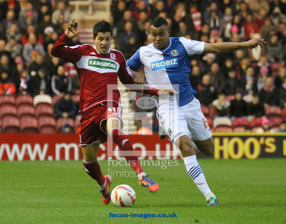 Picture by Paul Gaythorpe/Focus Images Ltd +447771 871632.26/12/2012.Emmanuel Ledesma of Middlesbrough and Joshua King of Blackburn Rovers during the npower Championship match at the Riverside Stadium, Middlesbrough.