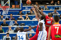Florent Pietrus of France vs Serge Ibaka of Spain during basketball game between National basketball teams of France and Spain at FIBA Europe Eurobasket Lithuania 2011, on September 11, 2011, in Siemens Arena,  Vilnius, Lithuania.  (Photo by Vid Ponikvar / Sportida)