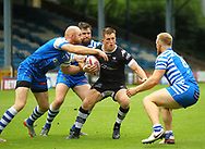 Josh McCrone (Captain) of Toronto Wolfpack  on the attack against Halifax RLFC during the Betfred Super 8s Qualifiers match at Shay Stadium, Halifax<br /> Picture by Stephen Gaunt/Focus Images Ltd +447904 833202<br /> 12/08/2018