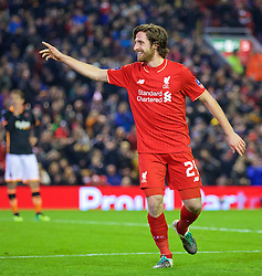 LIVERPOOL, ENGLAND - Wednesday, January 20, 2016: Liverpool's Joe Allen celebrates scoring the first goal against Exeter City during the FA Cup 3rd Round Replay match at Anfield. (Pic by David Rawcliffe/Propaganda)