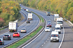 © Licensed to London News Pictures. 12/10/2018<br /> Otford, UK.<br /> Traffic on the M26 near Otford,Kent<br /> The M26 motorway in Kent is to be closed at night so it can be turned into a giant lorry park incase Britain leaves the EU with no deal. The M26 connects the M25 to the M20 towards Dover.<br /> Photo credit: Grant Falvey/LNP