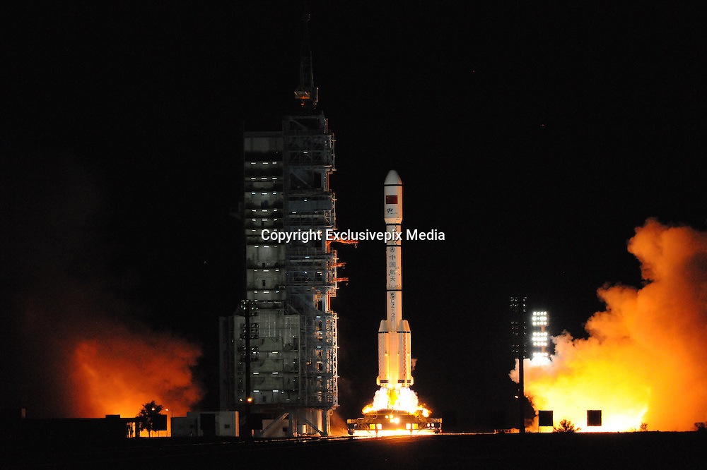 JIUQUAN, CHINA - SEPTEMBER 15: <br /> The Tiangong-2 space laboratory is ready for launch at Jiuquan Satellite Launch Center on September 15, 2016 in Jiuquan, Gansu Province of China. China launched the Tiangong-2 space laboratory which was lifted by the Long March 2F carrier rocket on Thursday night at Jiuquan Satellite Launch Center. <br /> ©Exclusivepix Media