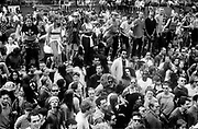 Crowd dancing on the street, Reclaim the Streets, Shepherd's Bush, London, July 1996