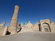 Uzbekistan, Bukhara.<br /> Kalon Ensmble. Kalon Minaret and Mir-i-Arab Medressa.