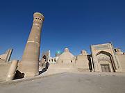 Uzbekistan, Bukhara.<br /> Kalon Ensmble. Kalon Minaret and Mir-i-Arab Medressa.
