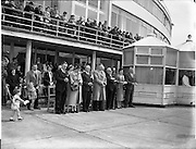 05/06/1955<br /> 06/05/1955<br /> 05th June 1955<br /> Blessing of the Aer Lingus fleet at Dublin Airport. Some of the attendees in front of the terminal building.
