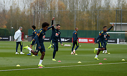 General view of Willian (left) and team-mates during the training session at London Colney, Hertfordshire.