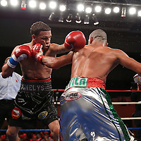 "Jonathan ""Polvo"" Oquendo (black shorts) and Guillermo ""El Borrego"" Avila fight for the WBO Latin Featherweight title during the ""Boxeo Telemundo"" boxing match between at the Kissimmee Civic Center on Friday, March 14, 2014 in Kissimmme, Florida.  Oquendo won the fight by unanimous decision. (AP Photo/Alex Menendez)"