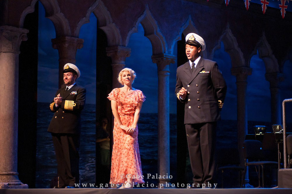 Jorell Williams, baritone, Robert McPherson, tenor, in the role of Ralph Rackstraw, Georgia Jarman, soprano, in the role of Josephine, and William Crutchfield, conductor, during the dress rehearsal for the performance of HMS Pinafore, a Bel Canto at Caramoor performance in the Venetian Theatre at Caramoor in Katonah New York..photo by Gabe Palacio